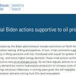 Image for the Tweet beginning: Goldman on Biden oil/gas leasing