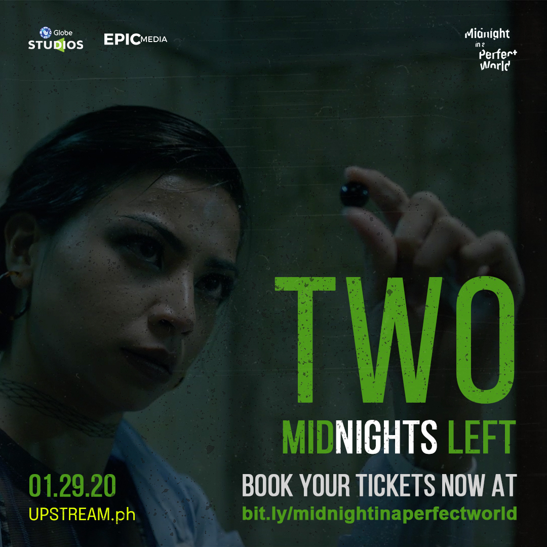 Two midnights left.  #MidnightInAPerfectWorld, starring @jascurtissmith and @glaizaredux, directed by @dododayao, streaming exclusively on  this January 29, 2021!  Book your tickets now at !  #GlobeStudios #Epicmedia