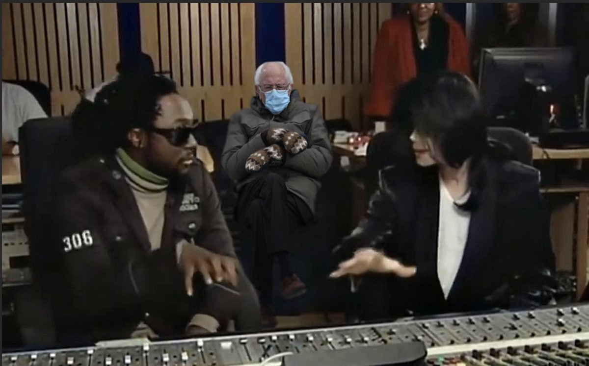 Rocking in the studio with @michaeljackson and @SenSanders back in the day...#WEARaMASK