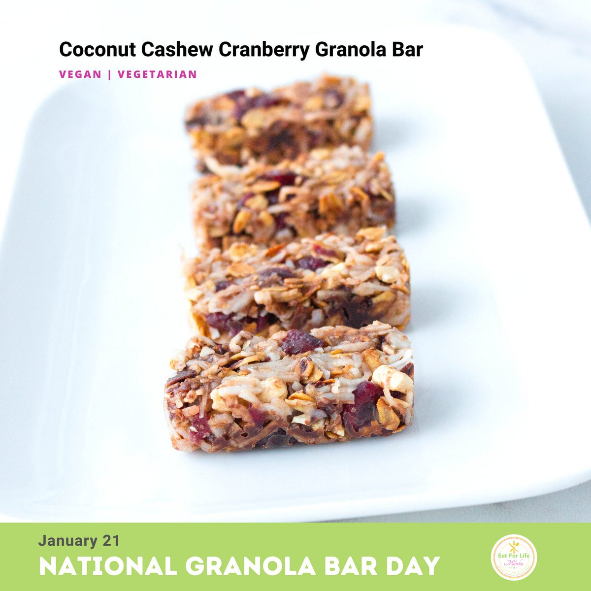 Your Granola Bar is ready and I named it #coconut #cashew #cranberry #granolabar 😄 just in time for #nationalgranolabarday and forgot to meniton #chocolate too. LOL  Tomorrow, I will post step-by-step recipe instructions.   #nutritious #healthy #delicious #glutenfree #dairyfree