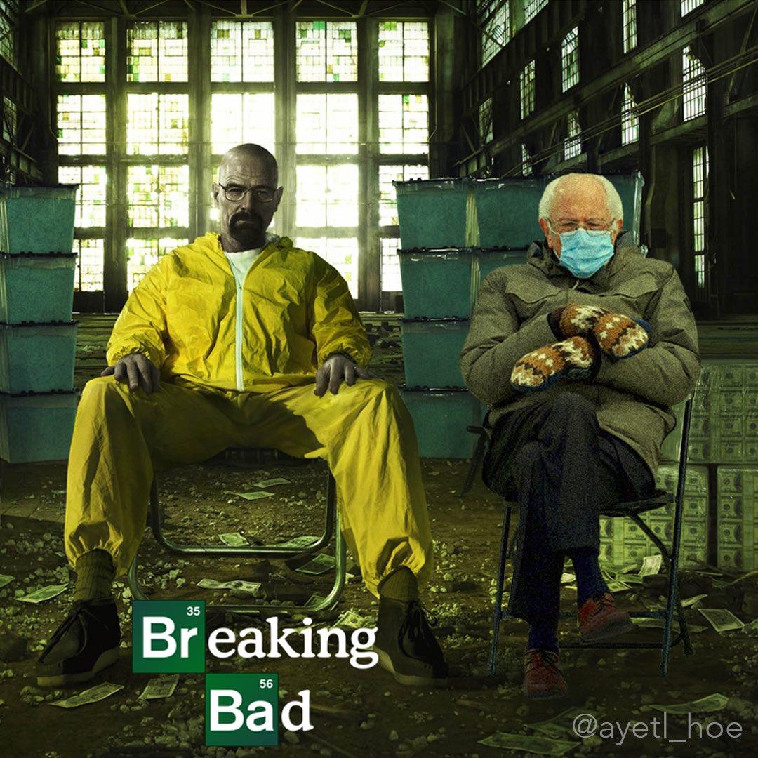 Breaking Bernie ⚗️🥼👨🔬  From @ayetl_hoe/instagram  #BreakingBad #BernieSanders #BernieSandersMittens #berniemittens #BernieMeme #Berniememes #berniesandersmeme #BernieSits #berniememes2021 #Bernie