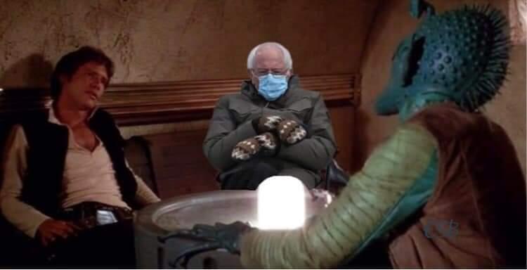 Bernie shot first  @HamillHimself #Berniememes #StarWars