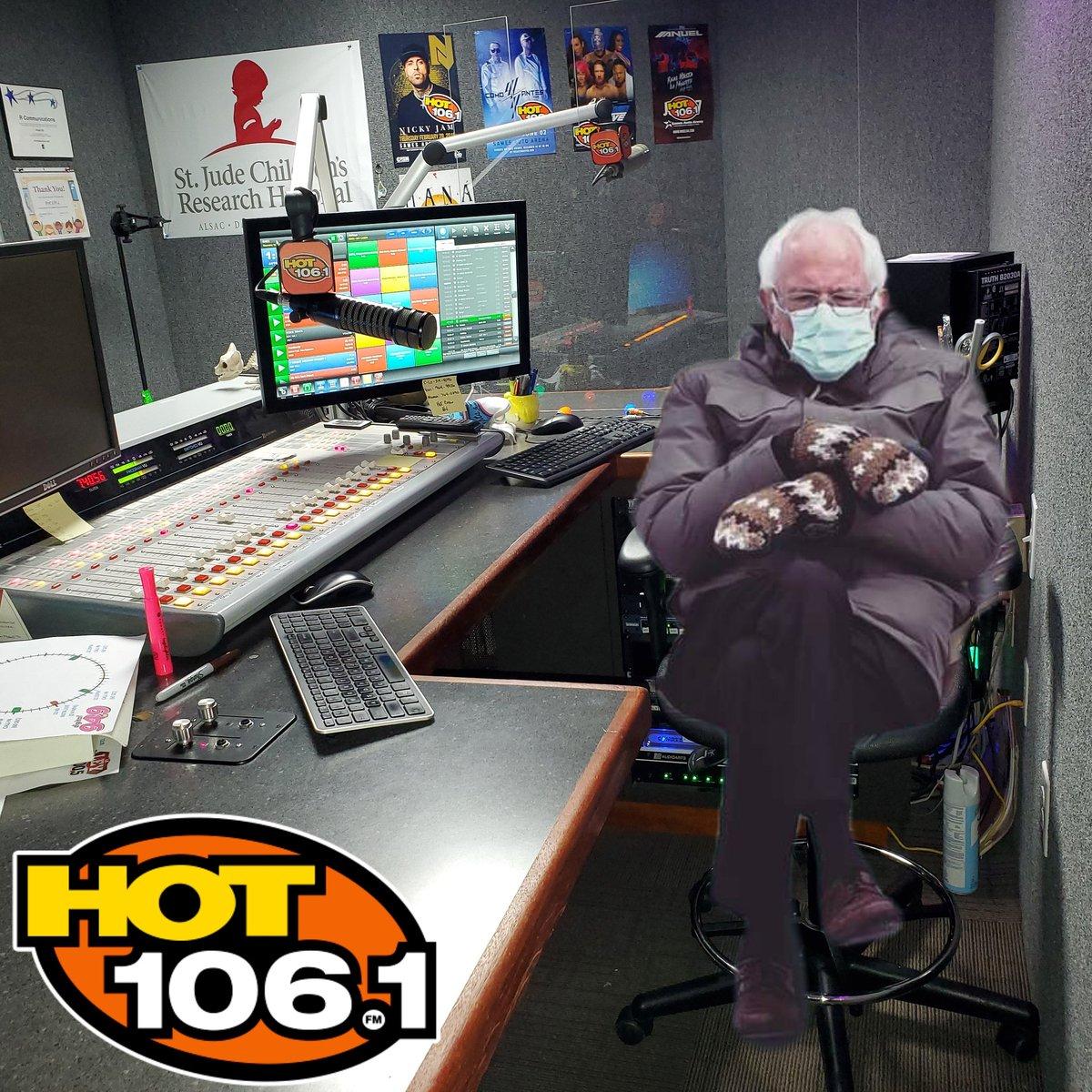 DJ Bernie in the Hot Studio! 👍🏽👍🏽👍🏽  #LateNightLove is on now with @c_lo1061!!! 😁😁😁 #IAmHot1061 #BernieMemes