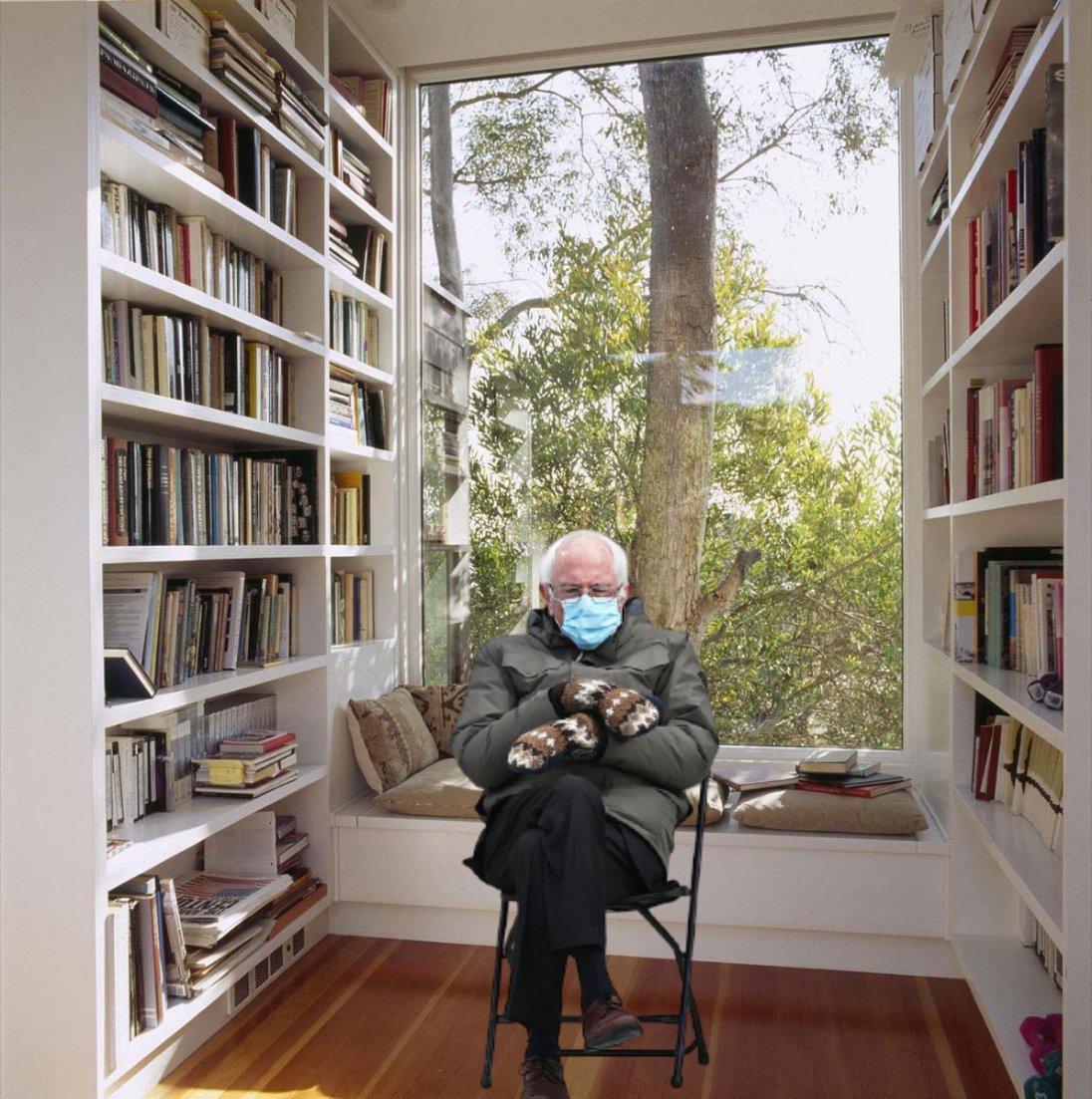 Bernie's favorite reading spot. Lol!  #Berniememes #reading #books