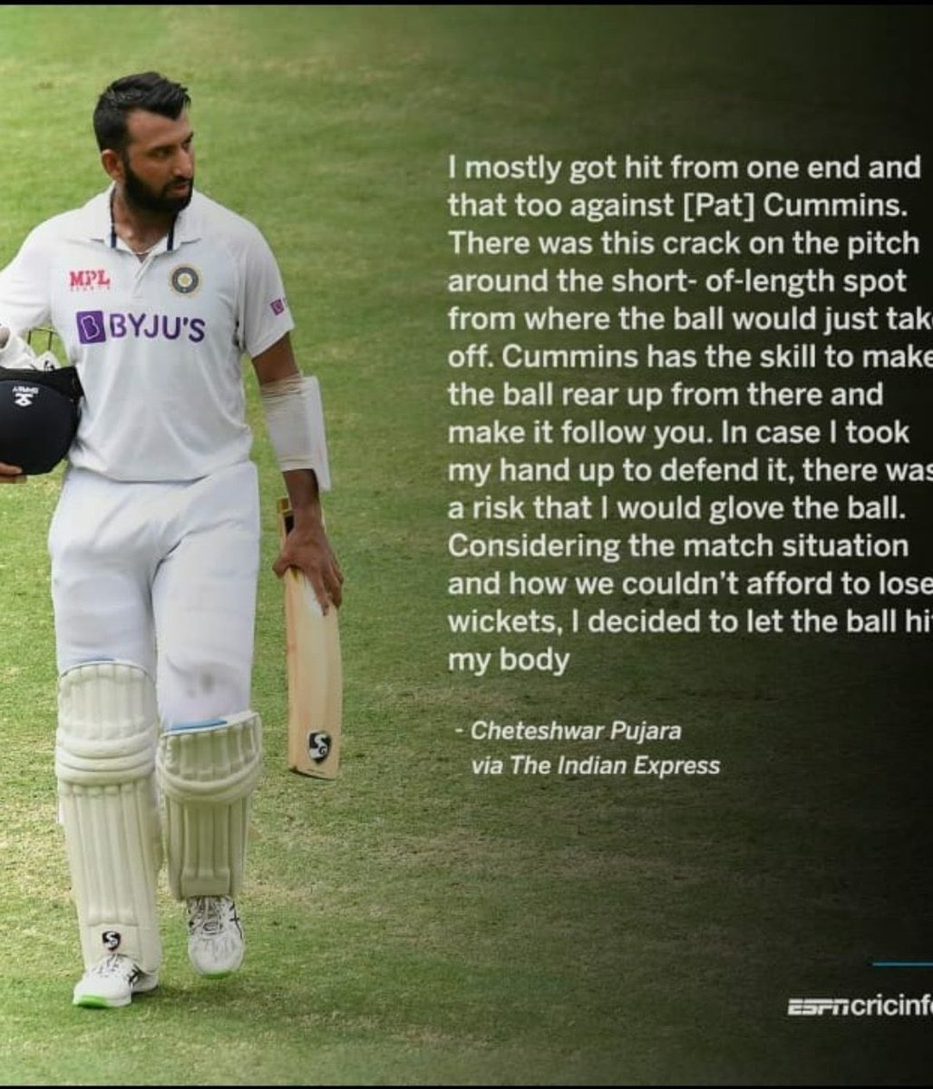 The unsung hero who put his body on the line & took the steam out of the Oz bowlers by holding them at bat for 35 overs 👏👏  India loves u @cheteshwar1 😍🥰  #GabbaBreached  #INDvsAUSTest
