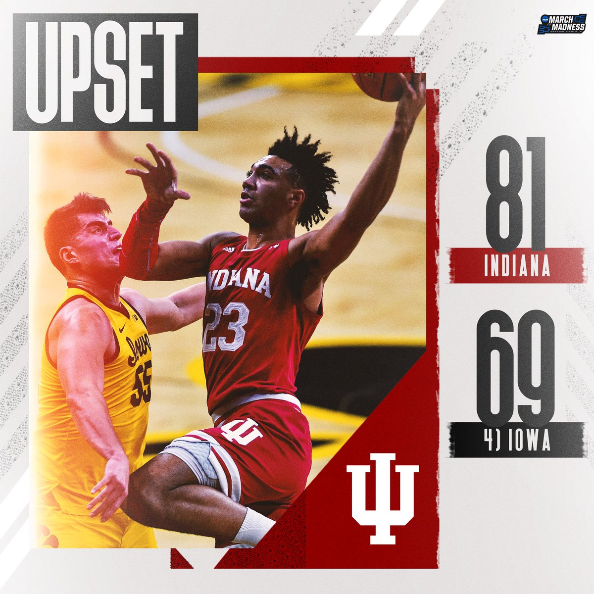 Replying to @marchmadness: 🚨 DOWN GOES NO. 4 🚨  Indiana UPSETS Iowa for a signature road win! #IUBB