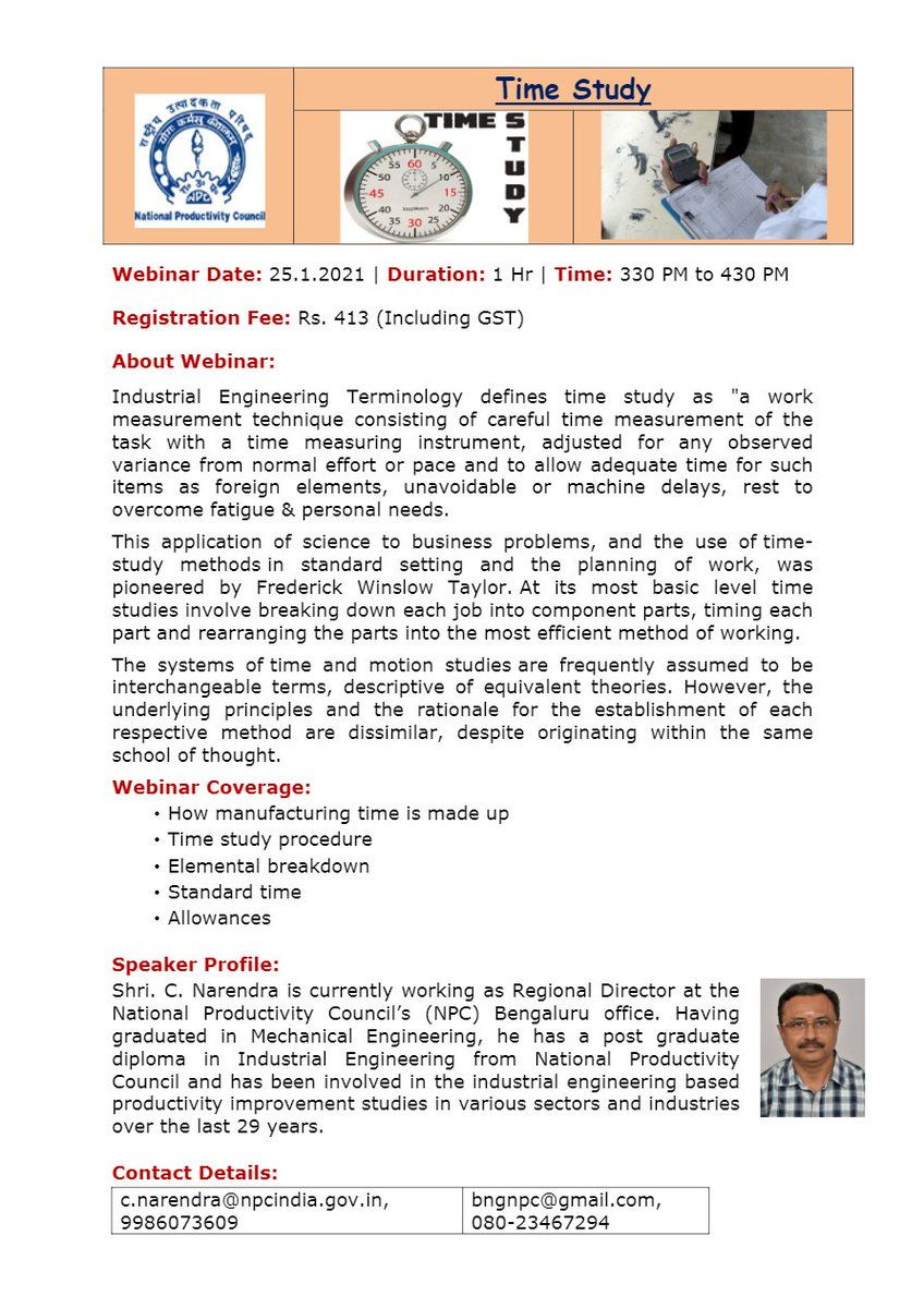"""Webinar on""""Time Study"""" Register Now:- Contact:-: c.narendra@npcindia.gov.in, 9986073609 bngnpc@gmail.com, 080-23467294 Date:-25.1.2021 