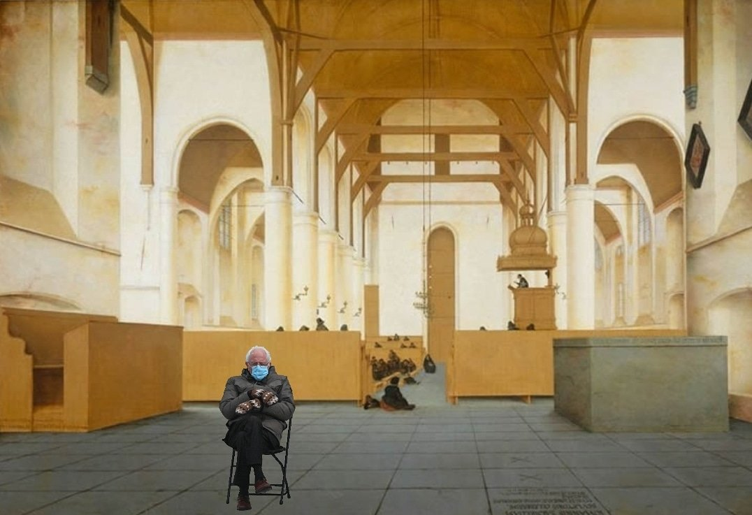 Bernie at church in Assendelft  #berniememes2021 #Berniememes #atchurch #saenredam #rijksmuseum