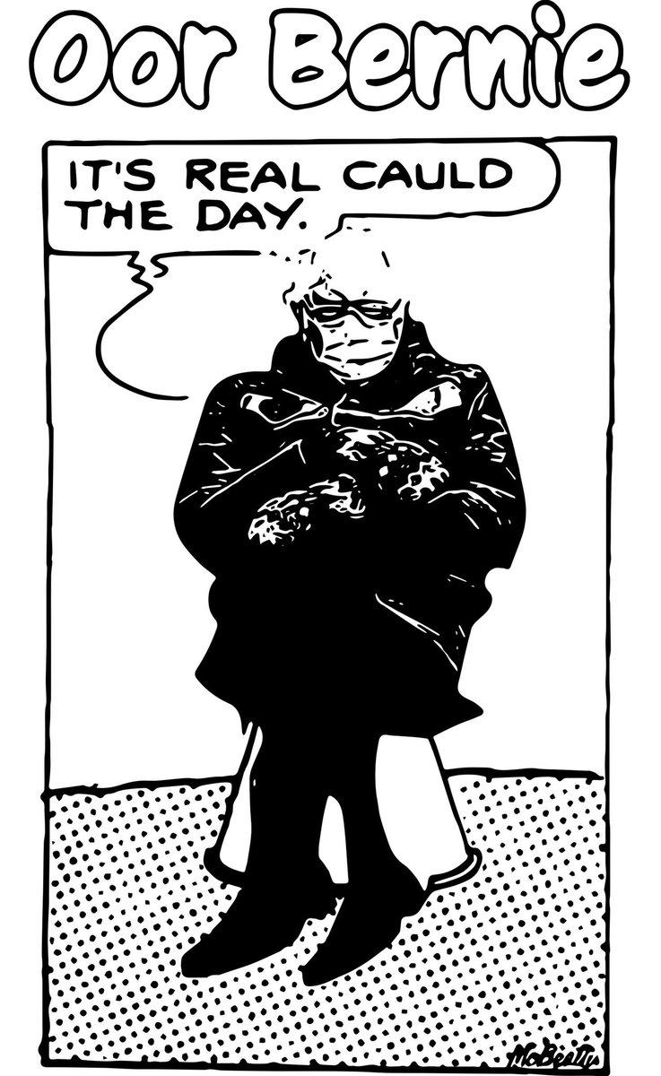 It's a cauld day on thon Capital Hill,  Oor Bernie's big coat keeps aff the chill. #Berniememes #scottishberniememes