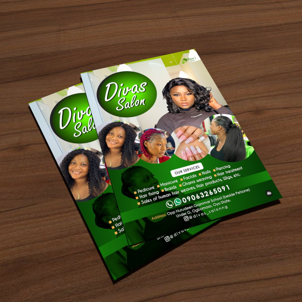 We Brand, Virtualize and Actualize.  Project Description: Flyers (Divas Salon)  Contact us to get your project(s) done at an affordable price. #graphic #graphics #graphicdesign #graphicdesigner #arts #artlovers #artgallery #artwork #business #Flyers #flyerdesign
