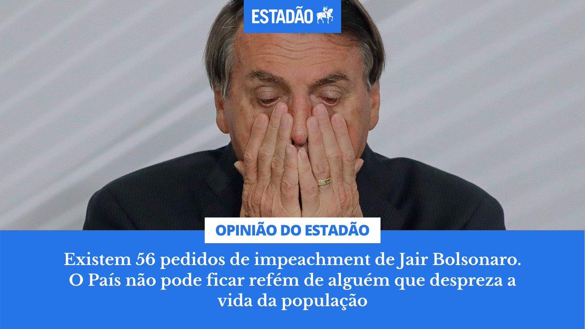 EDITORIAL: Existem 56 pedidos de impeachment de Jair Bolsonaro. O País não pode ficar refém de alguém que despreza a vida da população https://t.co/cYEPjIcquU https://t.co/pOGUwpp4oU