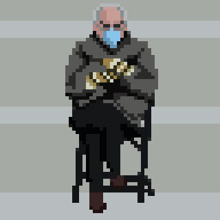 Been a while since I've done pixel art! Bit rusty but planning on working on some things soon!  Level 79 Bern!  #BernieSanders #berniesmittens #Berniememes #BernieSandersMittens #pixelart