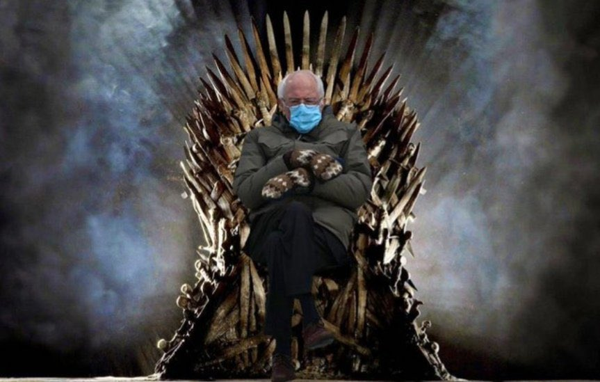 BERNIE:  The man.  The Mittens.  The Seat.  The Mask.  The Game.  The Throne.  The Ruler.  Social Distance.  #BernieSanders #Berniememes #BernieSandersMittens #Bernie