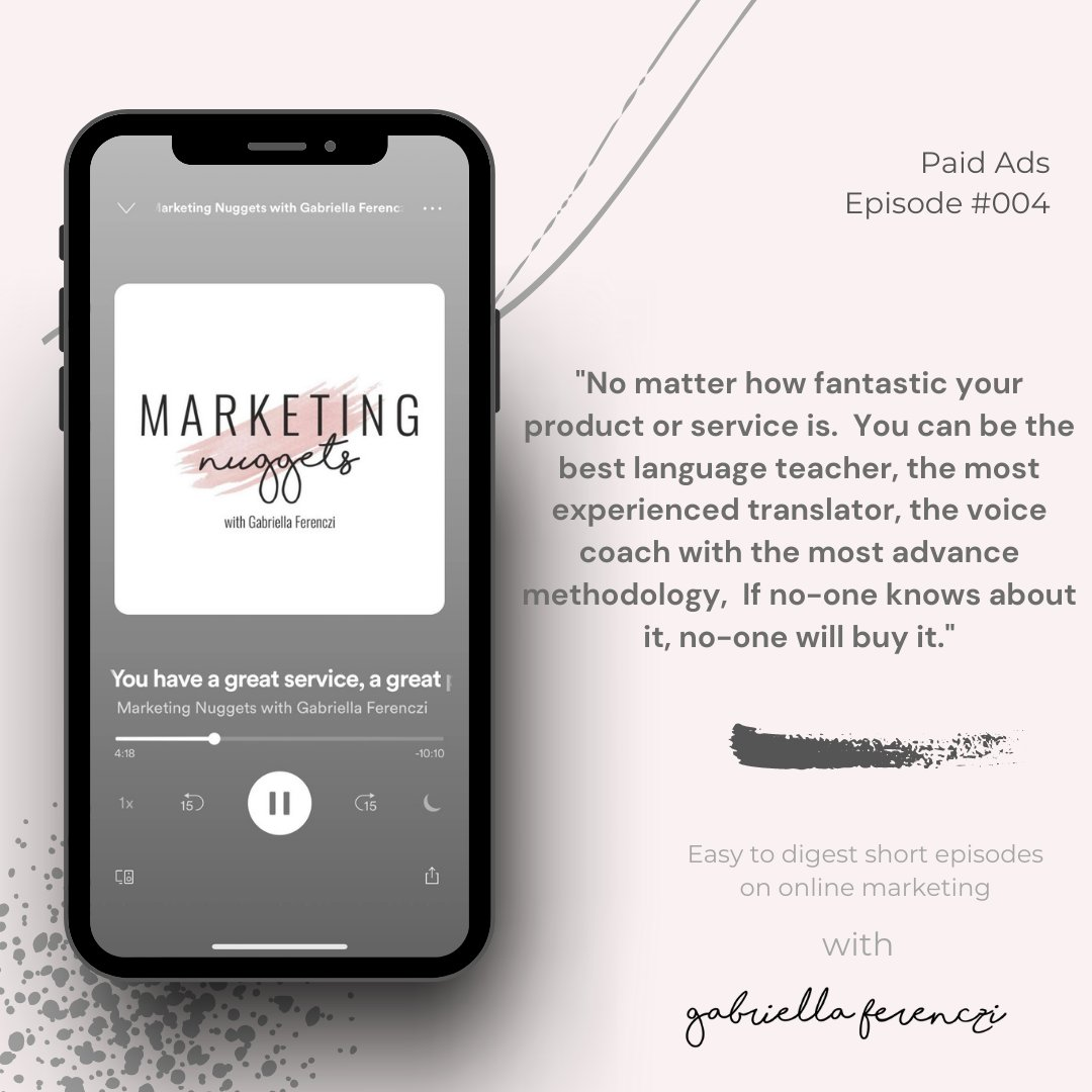In the fourth episode of the Marketing Nuggets podcast, Gabriella Ferenczi talked about Paid Ads, when and how to start spending your money online to earn more.    Tune in on Spotify, Apple Podcast, Stitcher or wherever you get your podcasts.  #marketingnuggets #podcast