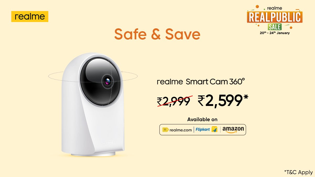 I spy… an amazing offer! Choose the #realmeSmartCam for total protection at a special price* only during the #RealpublicSale, till 24th January. *T&C Apply  Head here: