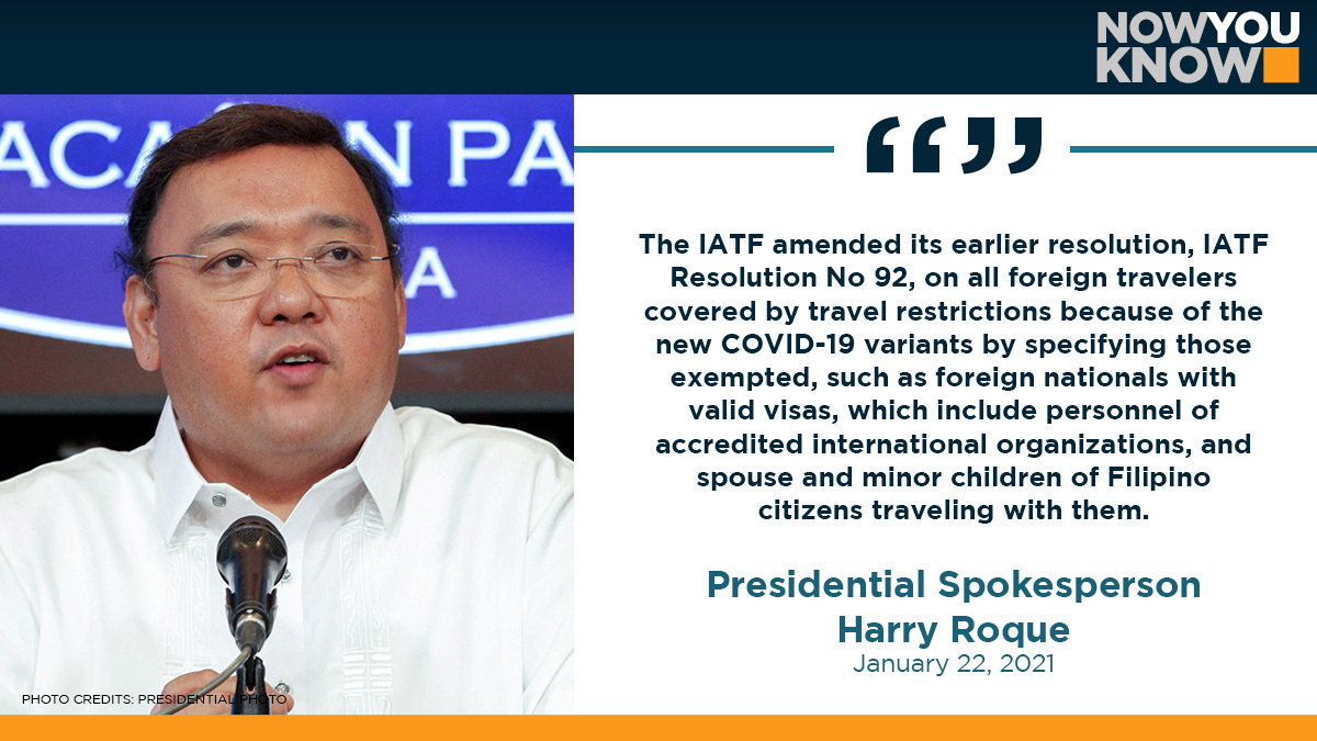Foreign nationals with valid visas, as well as the spouse and underage children of Filipino citizens traveling with them, are now exempted from the travel restrictions imposed by the Philippines in connection with new coronavirus variant. READ: bit.ly/3642YfH 📰GMA NEWS