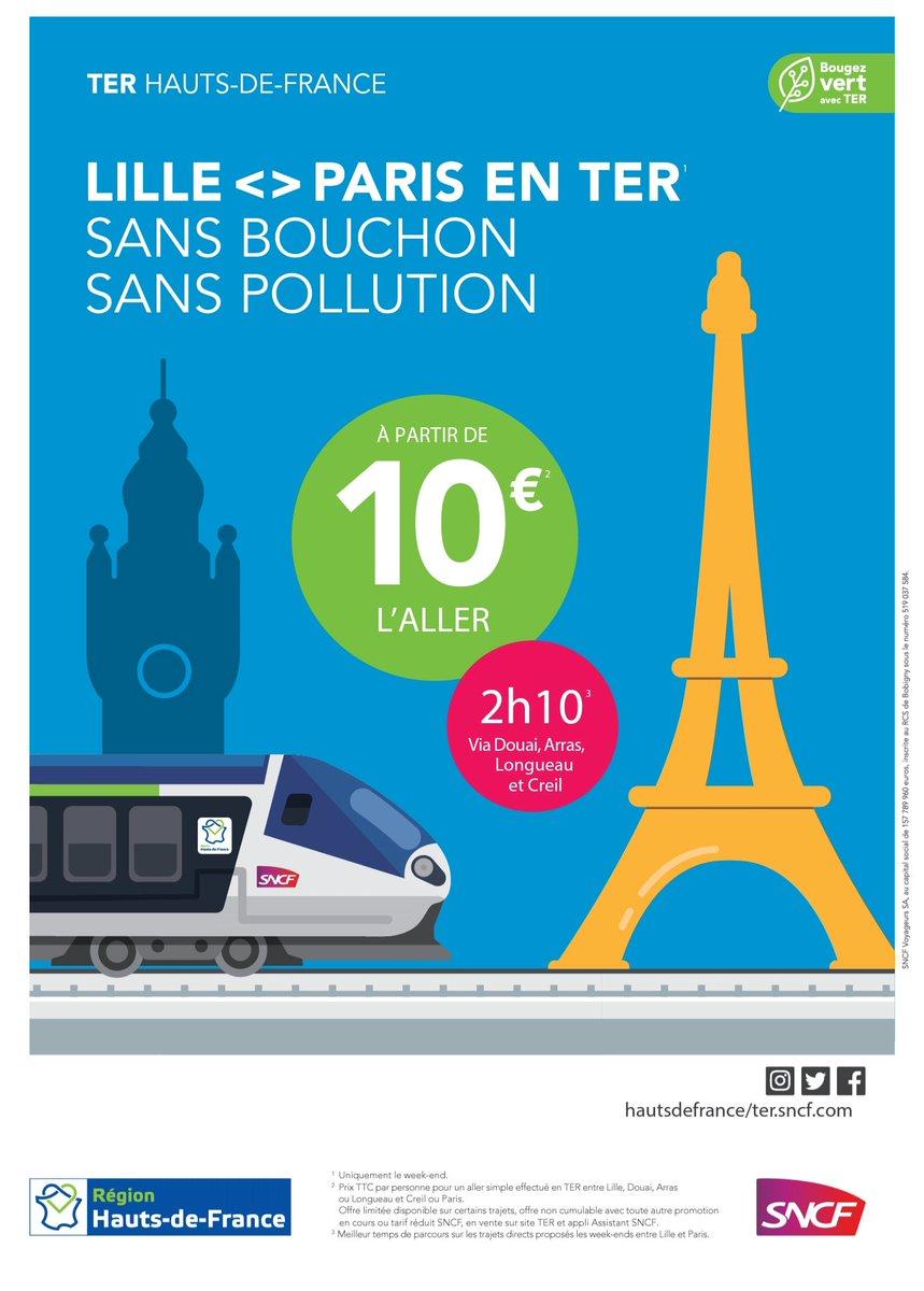 Demain (samedi) embarquez à bord du #TERHDF pour #Paris Gare du Nord premier départ 09h12 de la gare de #LilleFlandres arrivée prévue à Paris 11h25 billet à partir de   1️⃣0️⃣€ rdv sur l'assistant SNCF