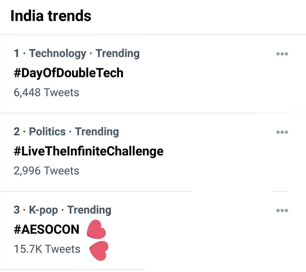 India Trends now #aesocon on 3rd @btsaeso  Thankyou💜💜❤️❤️❤️😊