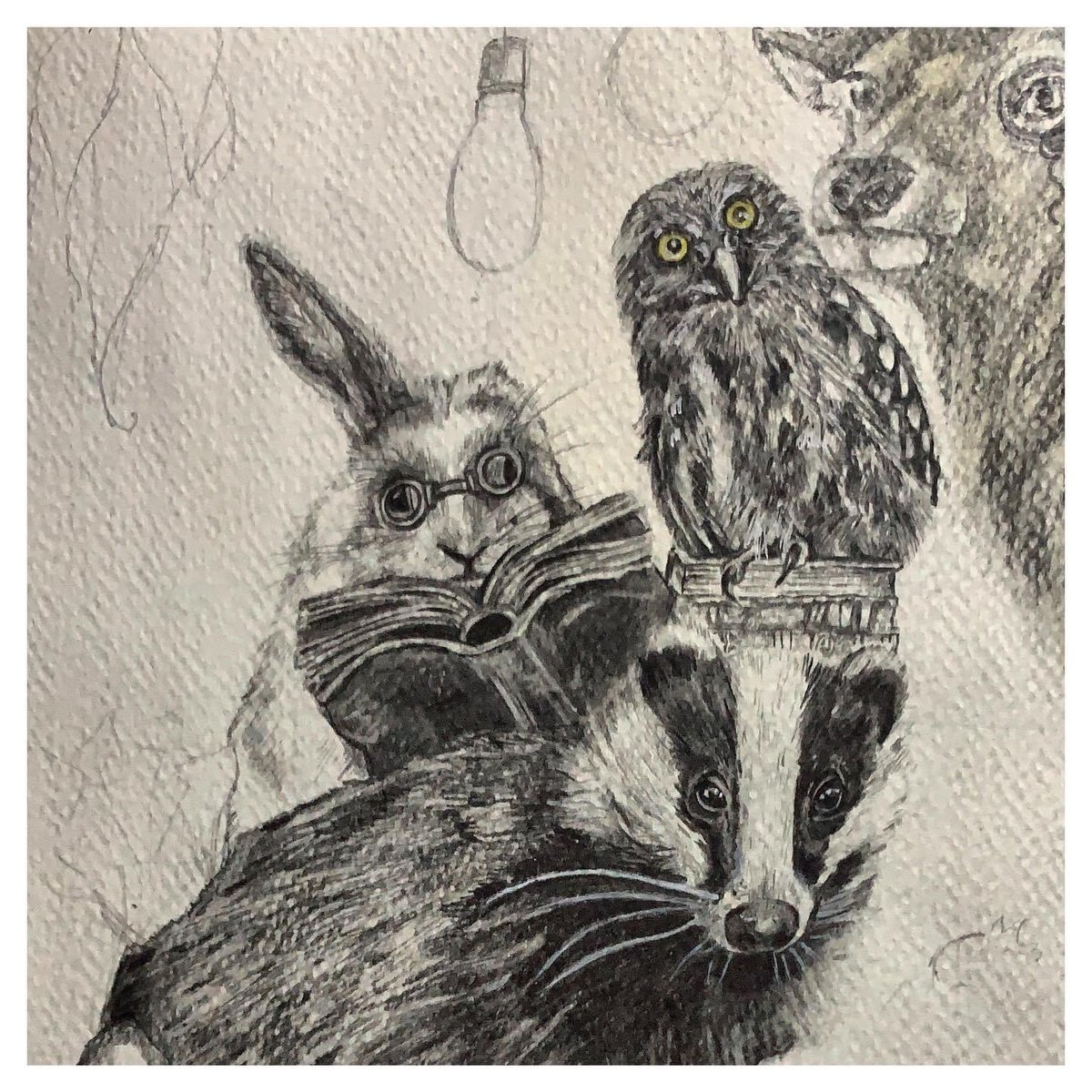 Proud to be a guest artist for Cushy Numbers who raise money for Freedom from Torture.  Work in progress. Close up. I wonder what those woodland friends are up to...   * * * #badger #owl #stag #owl #forestfriends #freedomfromtorture #onmyeasel  #pencilartist #commissionswelcome