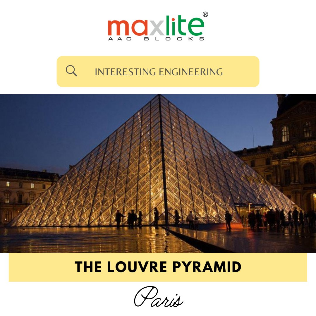 The famed Louvre Pyramid is a large, metal frame-and-glass pyramid that serves as the main entrance to the museum. Although it received significant criticism when first installed, it has since become an icon of Paris.  #Maxlite #AACBlocks #AAC #Construction #India #Paris