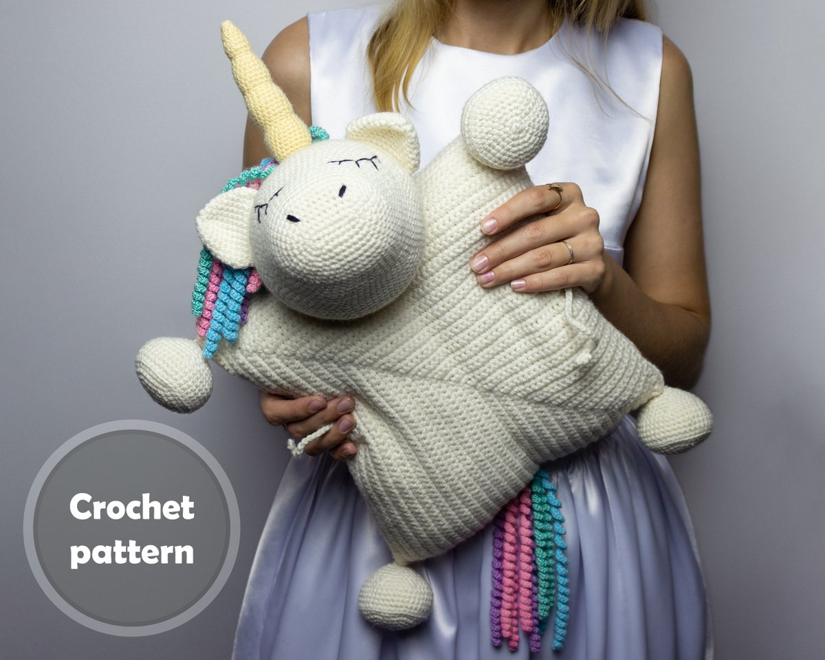 Excited to share the latest addition to my #etsy shop: Crochet Rainbow Unicorn Pillow Pattern PDF, Crochet Interior Baby Stuffed Unicorn Pillow PDF Pattern  #babyshower #crochet #christmas #unicornpillow #interiorbabypillow #pillowunicorntoy #ani