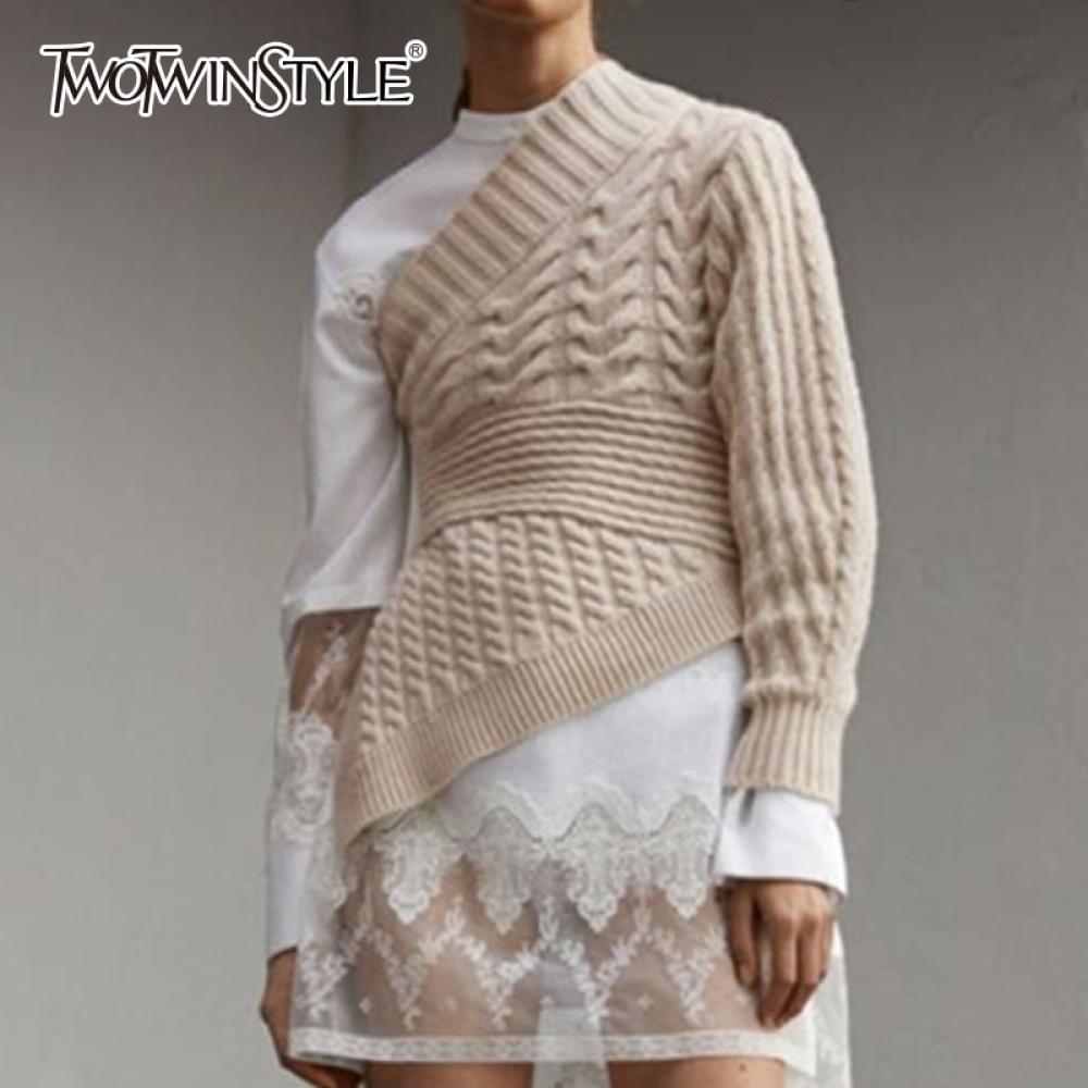 TWOTWINSTYLE Off Shoulder Women's Knitwear Big Size Long Sleeve Asymmetric Hem Pullover Female Autumn Casual Fashion 2018 Autumn  #fashion|#tech|#home|#lifestyle