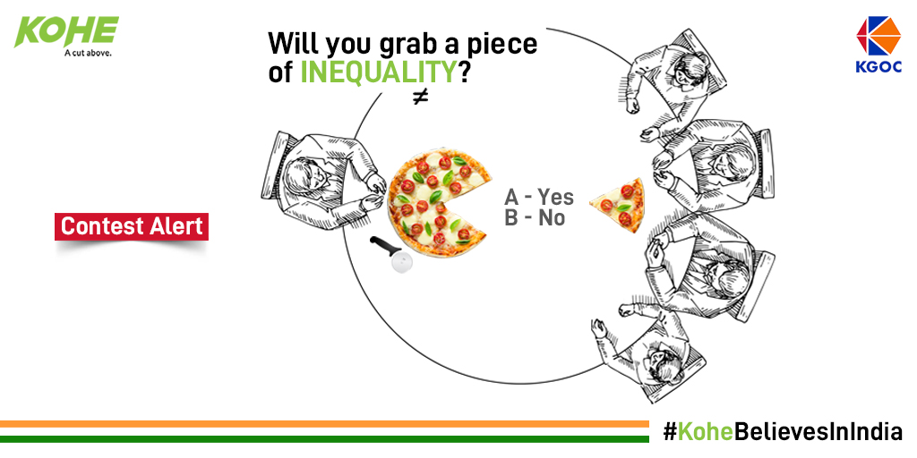 You enjoy the liberty of utilizing your freedom but will you enjoy it by being part of inequality?  Ask your friends and share your views with us.  #KoheBelievesInIndia #Contest #ContestAlert #republicday