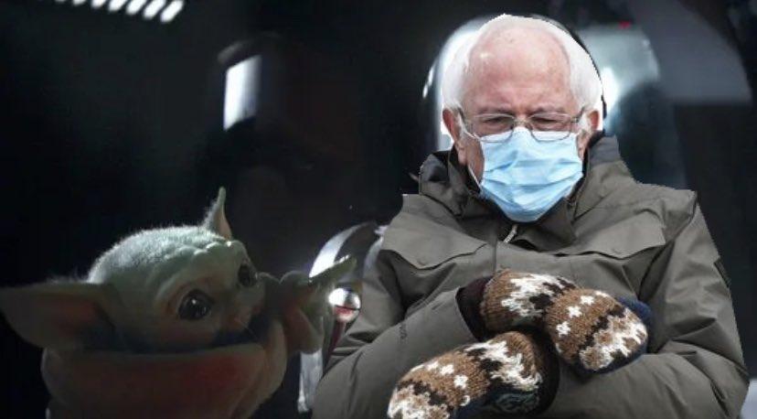 @DrSandman11 #Bernie is not amused by #BabyYoda   Bernie believes that we cannot drop the ball   #Berniememes