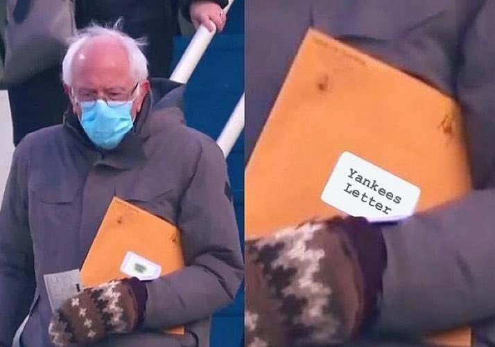 Here's my favorite!... Now open the letter!🤣😅 #BernieSanders #Berniememes #berniesmittens ft #Yankees