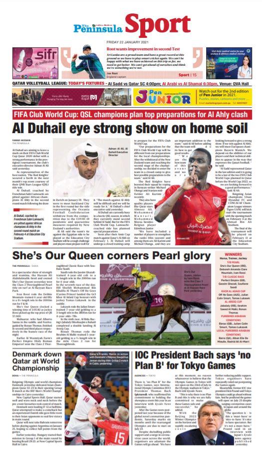 Read today's edition of The Peninsula Sports (Jan 22) for latest updates on #Qatar #COVID19 #ClubWC #MiddleEast #SportsNews #Football #Cricket #Qatar2022 #QSL  #Handball #ihfworldchampionship #AustralianOpen