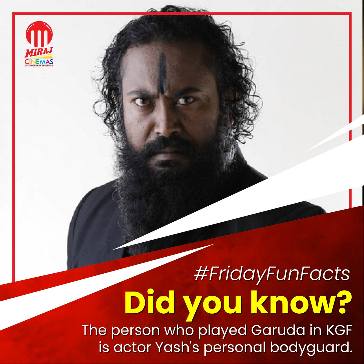 #DidYouKnow  Ram alias Ramachandra Raju, who played the role of #Garuda in #KGF: Chapter 1 was actually not an actor but a long-time associate and bodyguard of @TheNameIsYash  #FridayFunFacts #KGFChapter1 #KGFChapter2 #rockingstaryash