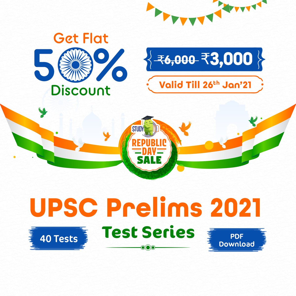 #RepublicDaySale! #UPSC Prelims test series covering basic level #NCERT tests, application-based Sectional Tests, simulative mock tests.  It consists of 40 tests (8 NCERT, 16 Sectional, 9 Mock tests, 6 Revision tests, 1 Current Affairs test). Visit: