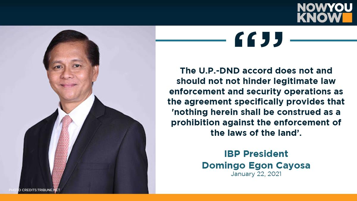 The University of the Philippines (UP) pact with the Department of National Defense (DND) does not stand in the way of law enforcement, said the president of the Integrated Bar of the Philippines (IBP). READ: bit.ly/39Vk14U 📰 GMA News Online