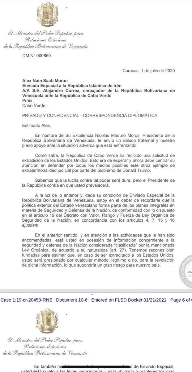 """Pero quizás el documento más revelador es uno también firmado por Jorge Arreaza en el que le advierte a Alex Saab, luego de su detención, que maneja información """"clasificada"""" del Gobierno venezolano que no debe revelar ni siquiera en caso de ser extraditado. https://t.co/krTmqpmwag"""