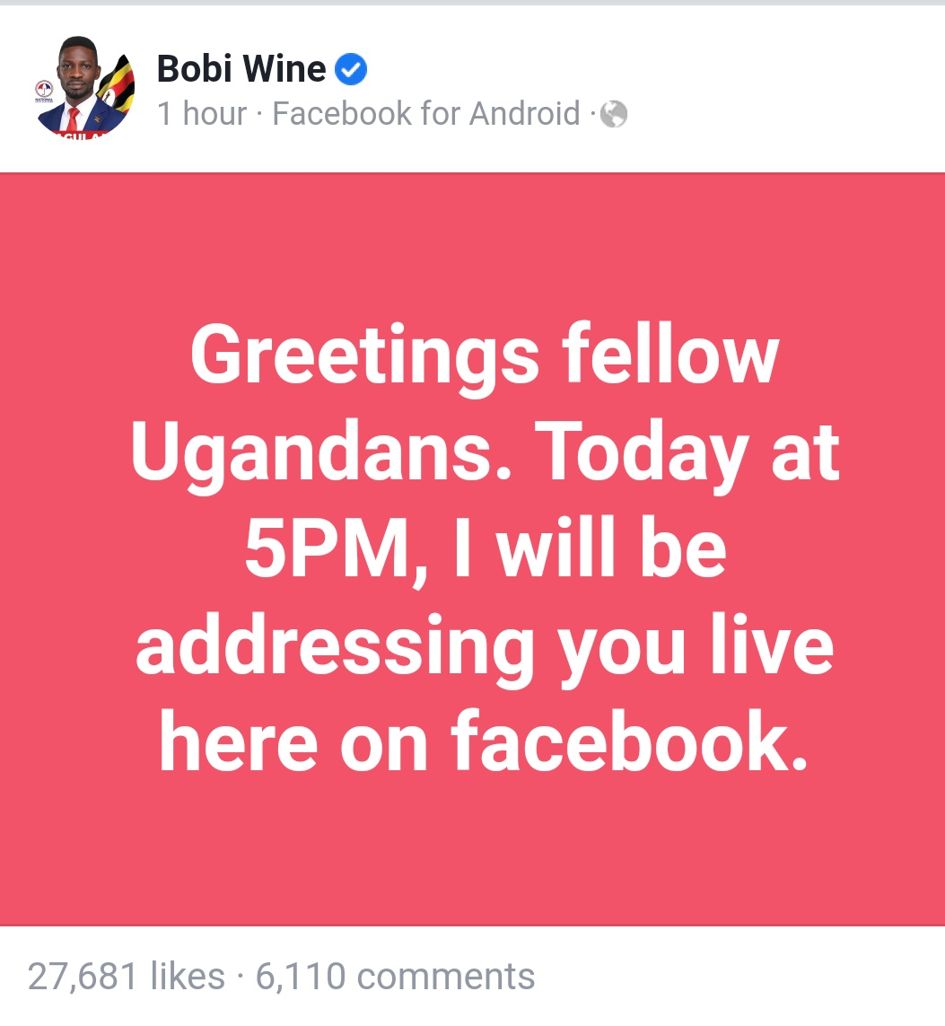 Our Supreme Generation Leader HE @HEBobiwine will be addressing the Universe today at 5PM via his Facebook page! Don't Miss✊🏼