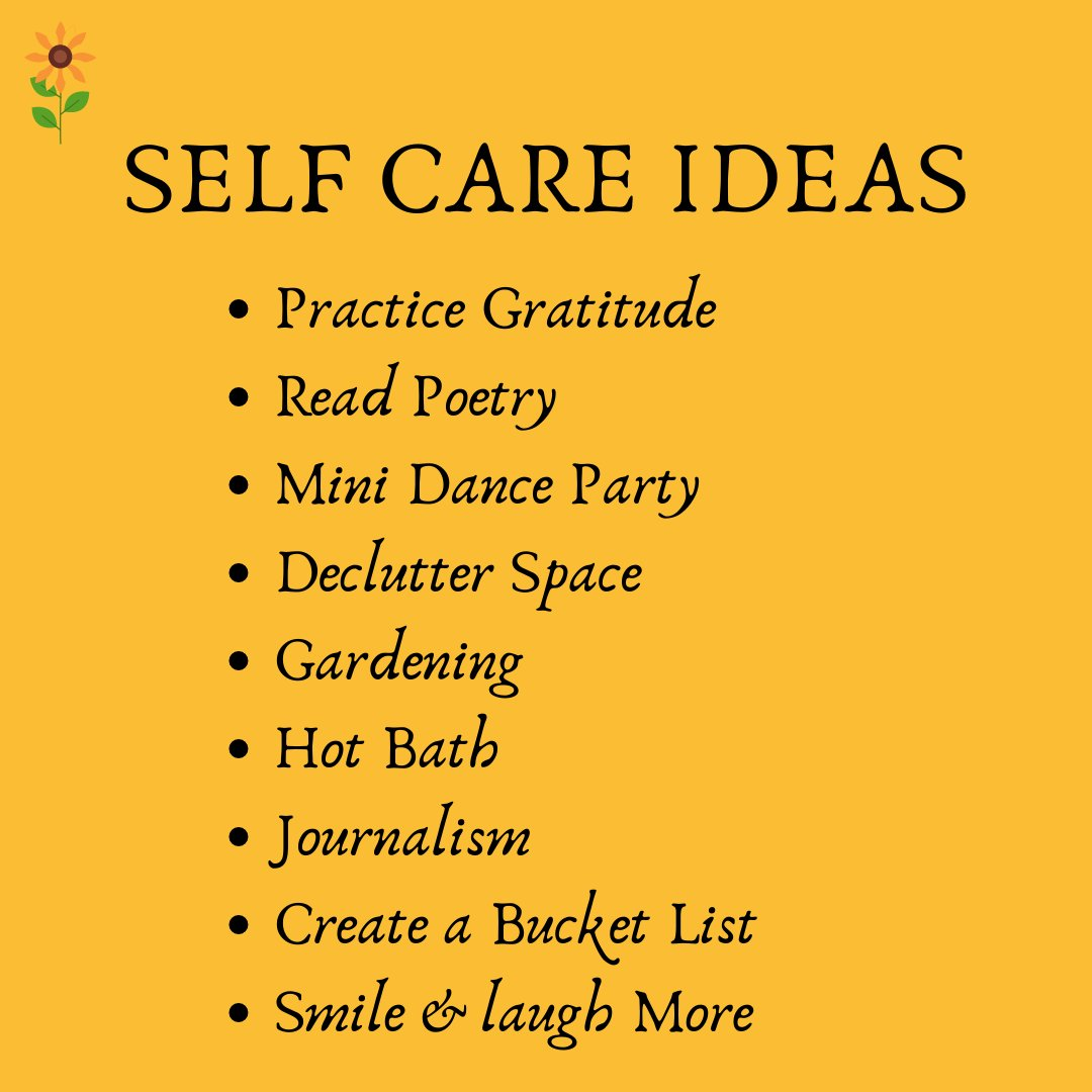 Self-care ideas!🌻Sweety Joshi, a #blogger even a #member of the #forum has disclosed some self-care ideas before all of us😍#selfcare #selflove #selfcaretips #self #pamperyourself #pampering #gratitude #danceparty #gardening  #journaling  #smile #inspirationalforum1