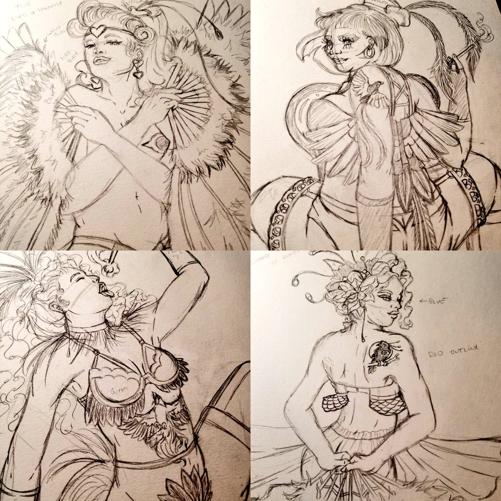 Doodlin' some stuff for #ValentinesDay.  #WIP #burlesque