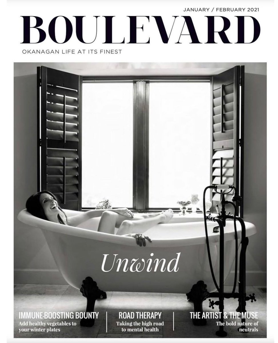Whoa, check out the cover of @BoulevardMag. Yup, that's me at Crystal Hills Farm. #kelowna #bathtime #holisticbeauty #selfcare #unwind