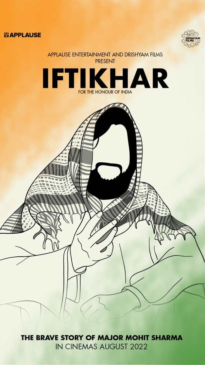 APPLAUSE - DRISHYAM JOIN HANDS... Applause Entertainment [makers of #Scam1992 and #CriminalJustice] and Drishyam Films to jointly produce a film... Titled #Iftikhar... Based on #AshokChakra awardee Major Mohit Sharma... Filming starts Sept 2021... #IndependenceDay 2022 release.