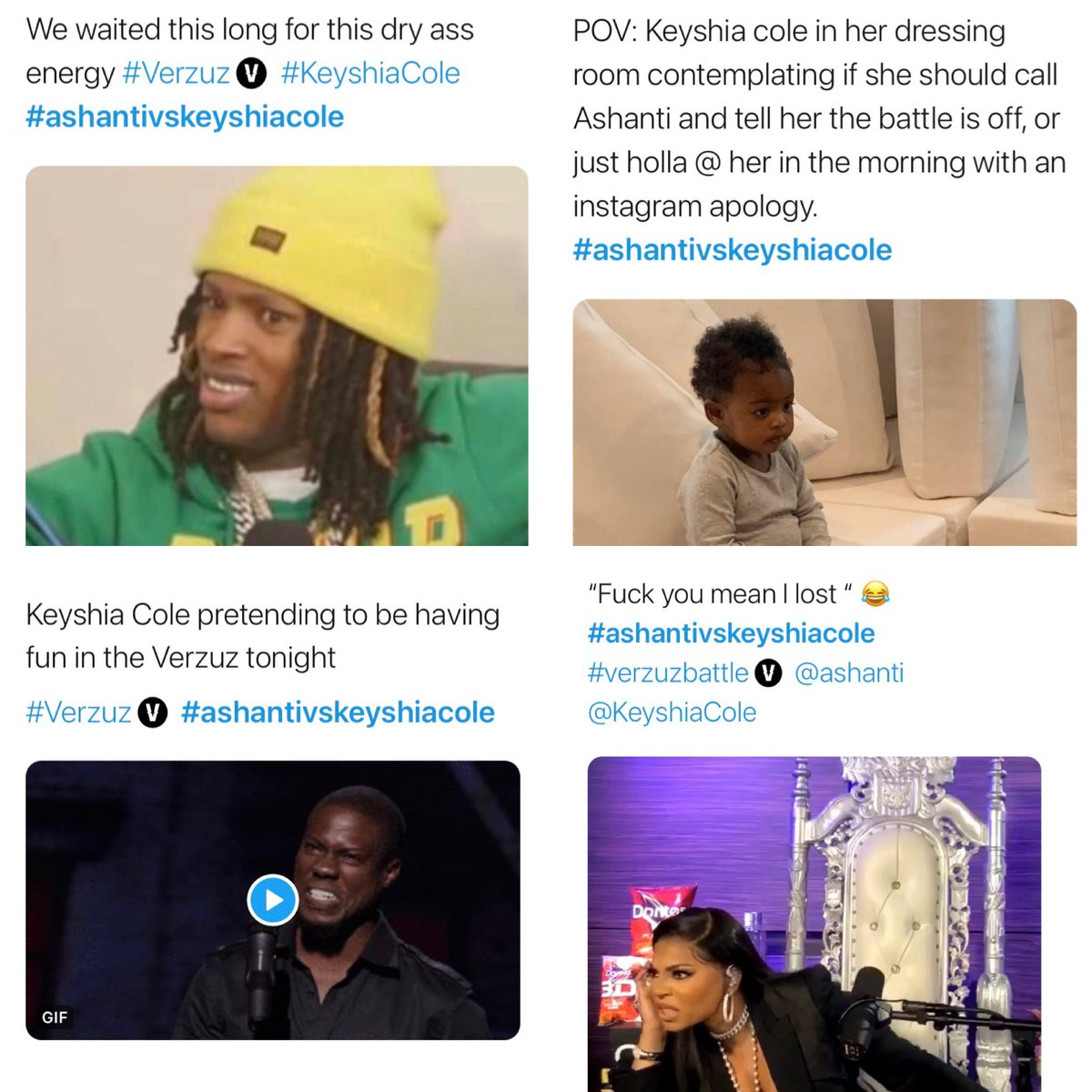 Some of Twitter's hilarious reactions to the Ashanti and Keyshia's verzuz from last night. The two artists showed up later than expected and that angered some fans. #Ashanti #KeyshiaCole #Verzuz #AshantiVsKeyshiaCole #KeyshiaColeVsAshanti