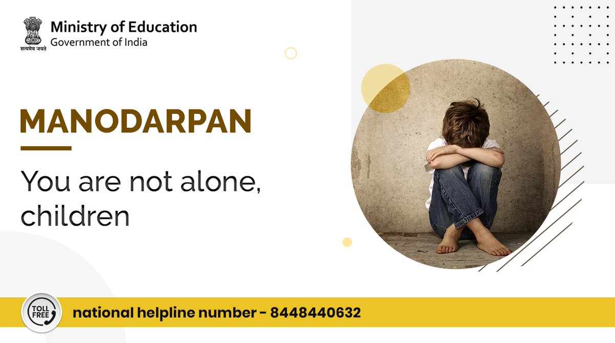 #Students who are feeling helpless, scared or worried - remember that you are not alone. Get in touch with our counsellor today. Call our toll-free national helpline number - 8448440632. For more details, visit:  #YourHealthOurPriority #Manodarpan
