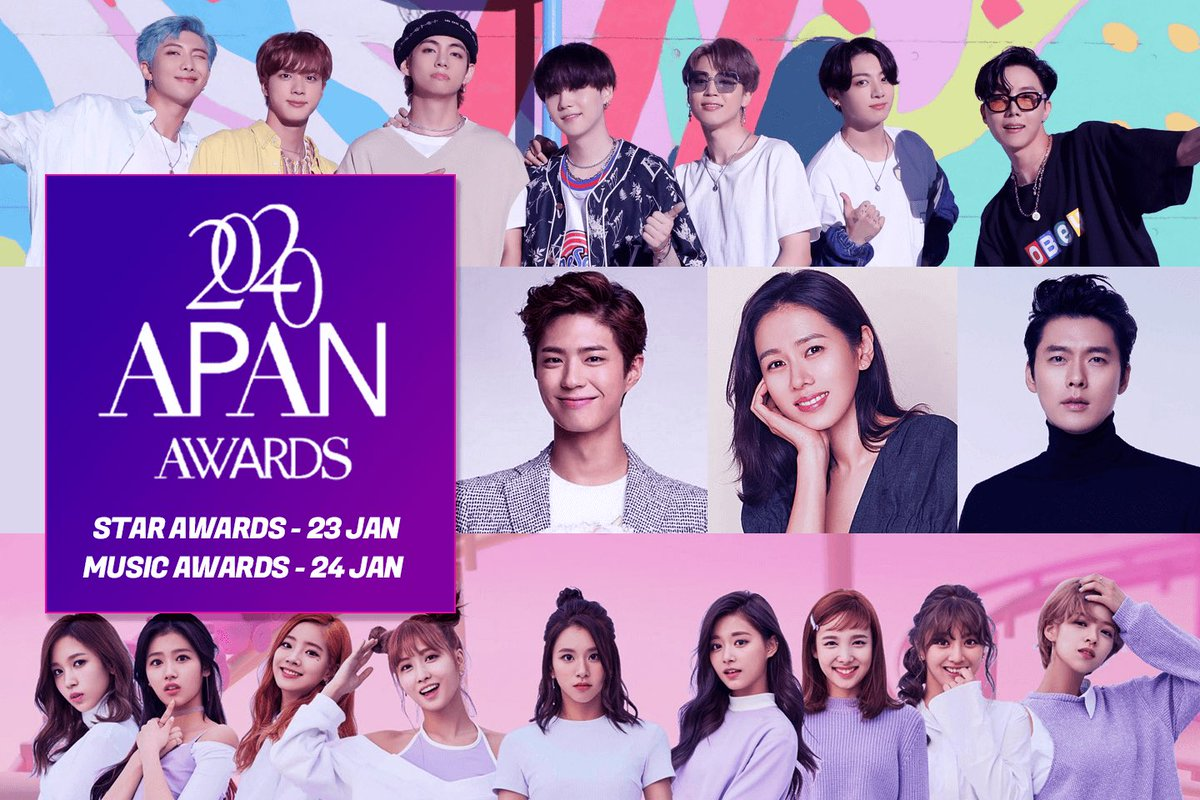 📍APAN MUSIC AWARDS 2020 BTS and TWICE will attend the APAN Music Awards. when? —January 24th, 2021 what time is it? —8pm-11pm KST is it free? —no, but i'm sure someone will stream (lol) @BTS_twt @JYPETWICE https://t.co/9782oY8QIQ