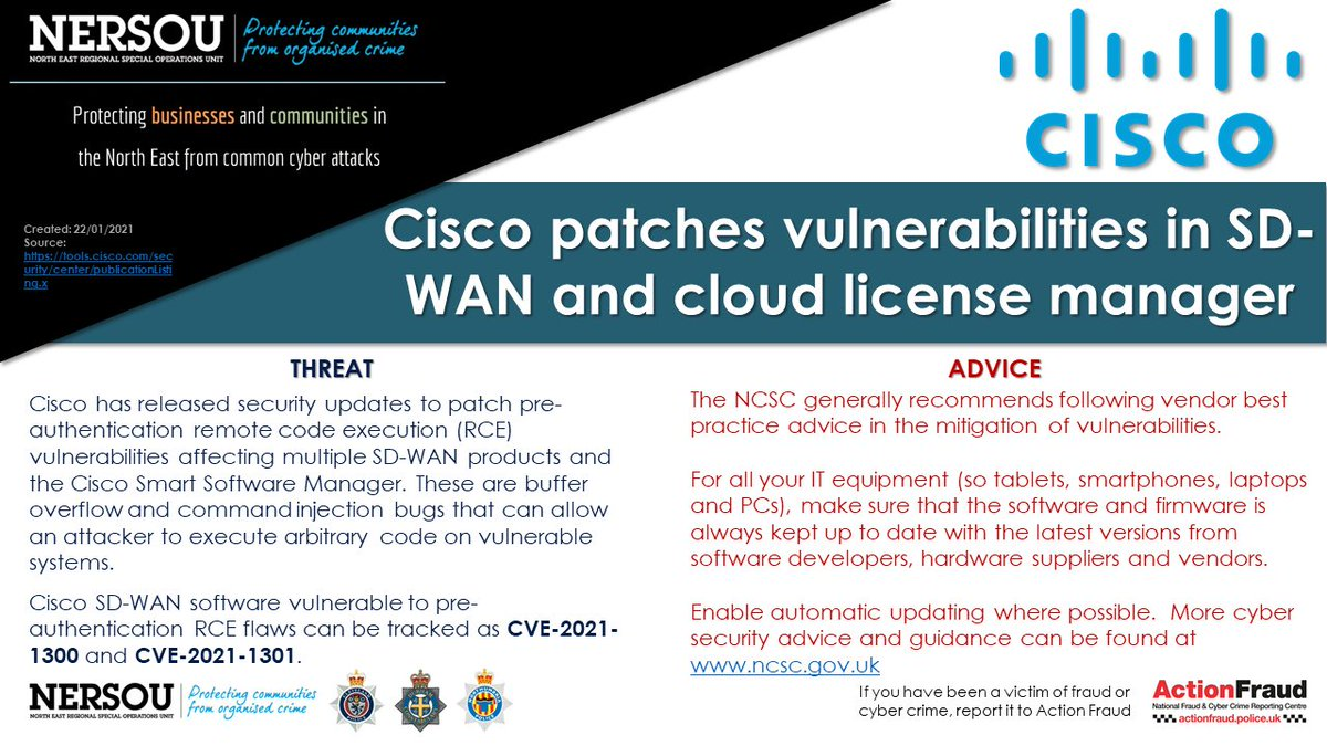 Cisco patches vulnerabilities in SD-WAN and cloud license manager  #cyberprotect #cybersecurity #cybercrime #infosec #technews #cisco #sdwan #cloud #license #rce #cve #patch #update #vulnerabilities