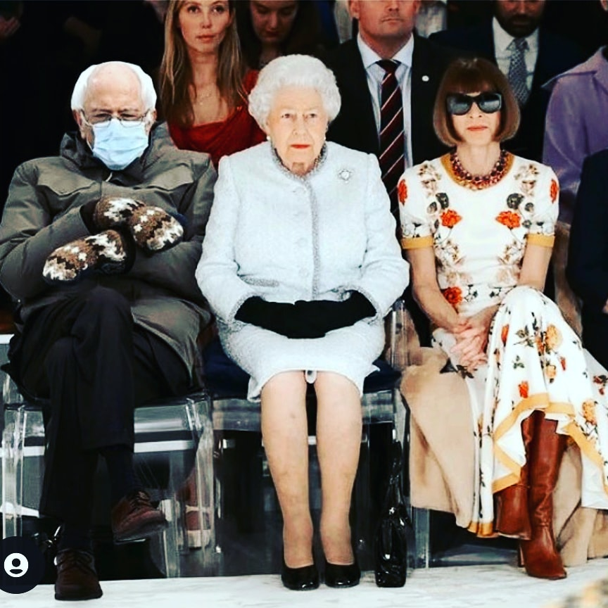Don't know who did this meme but i 💜 it. It's lit the best. Thank you 😘 (Tell me if you made it so i can give credit) #berniesanders #berniememes #queenelizabeth #annawintour
