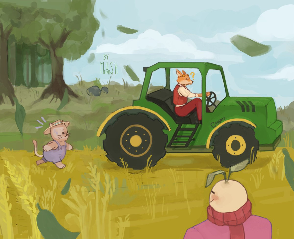 From todays stream! Crumb chasing the tractor 🥰 bonus: crumb being lifted while tubbo drives #cogchampsmpfanart #cogchamps #5upfanart