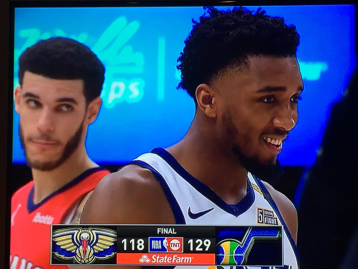 @spidadmitchell trampled @ZO2_with a @utahjazz SWEEP over #NOP — his look says it all!!! 🤣 #TakeNote #NBA — The Jazz are ready!