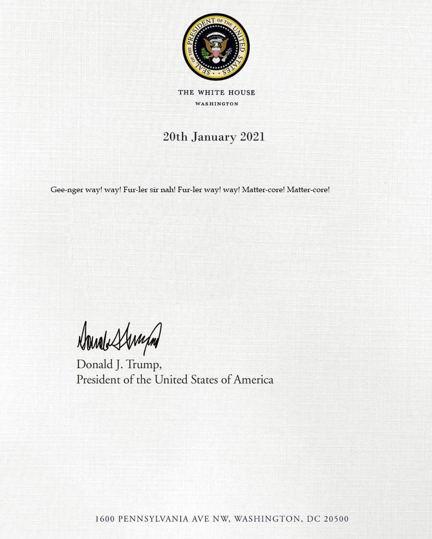 Pres. Donald Trump's letter to President Joe Biden.  #Inauguration2021 #InaugurationDay