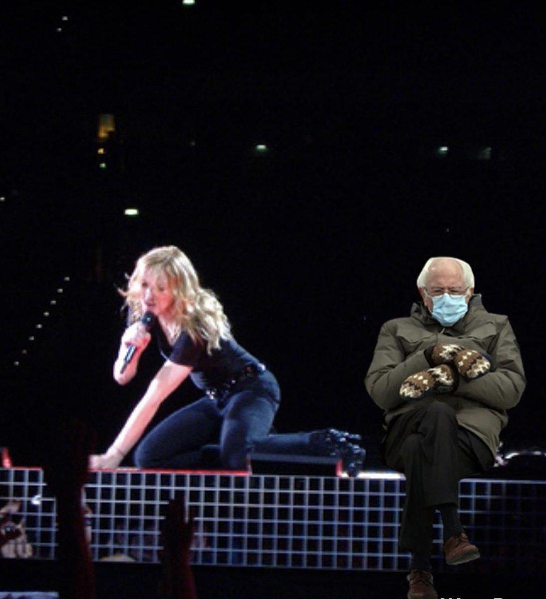 """Just watch me BERN!"" 😬 #Madonna #BernieSanders #berniesMittens #berniememes"