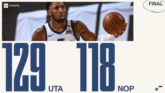 #TakeNote gano fácilmente en casa 129-118 a #WontBowDown , gran partido de Donovan Mitchell con 36 puntos, 7 rebotes y 5 asistencias #NBA #NBATwitter .