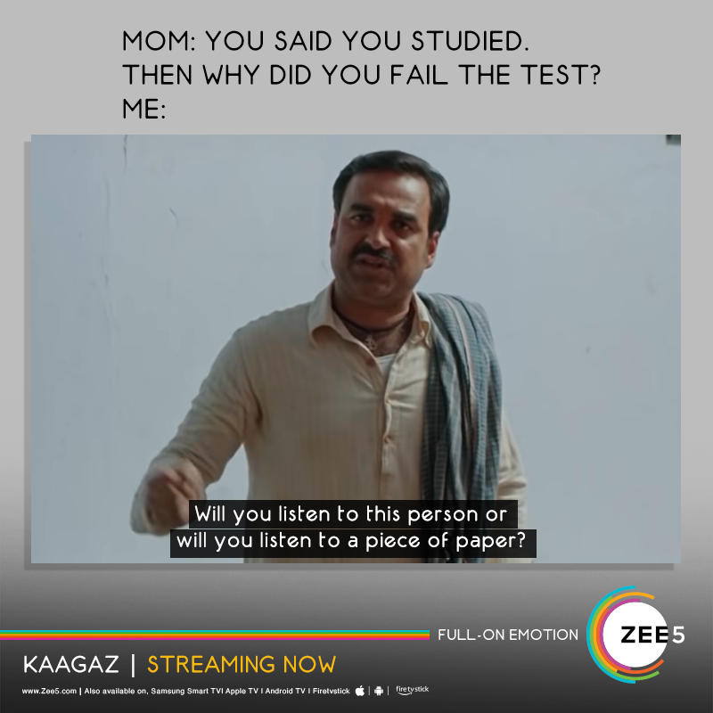 Who would you listen to? #Kaagaz streaming now on #ZEE5. ▶️   #KaagazOnZEE5   #ProofHaiKya   @tripathiipankaj   @satishkaushik2   @gajjarmonal   @TheAmarUpadhyay   @Nishantkaushikk   @SKFilmsOfficial   #MitaVashisht